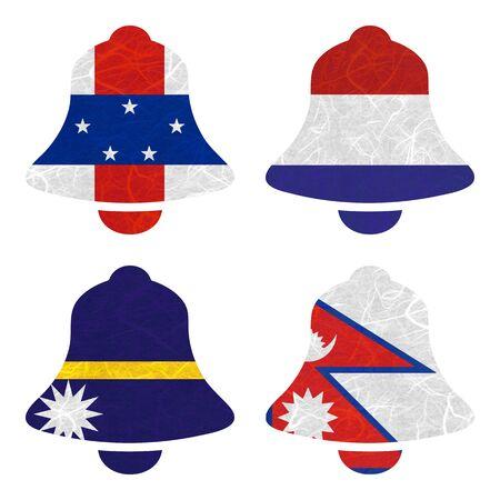 antilles: Nation Flag. Bell recycled paper on white background. ( Nauru , Nepal , Netherlands Antilles , Netherlands )