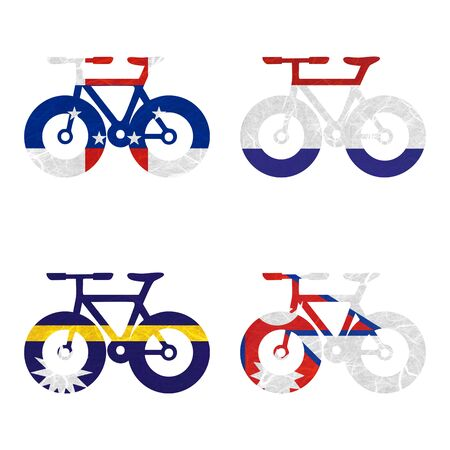 antilles: Nation Flag. Bicycle recycled paper on white background. ( Nauru , Nepal , Netherlands Antilles , Netherlands ) Stock Photo