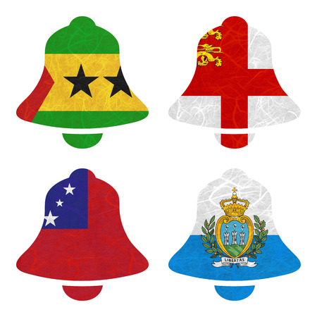 samoa: Nation Flag. Bell recycled paper on white background. ( Samoa , San Marino , Sao Tome and Principe , Sark )