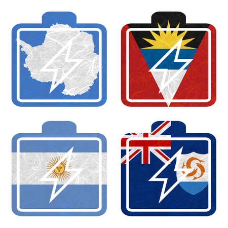 background antarctica: Nation Flag. Battery recycled paper on white background. ( Anguilla , Antarctica , Antigua and Barbuda , Argentina )