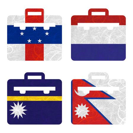 antilles: Nation Flag. Bag recycled paper on white background. ( Nauru , Nepal , Netherlands Antilles , Netherlands ) Stock Photo