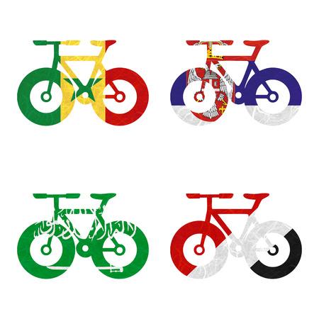 sealand: Nation Flag. Bicycle recycled paper on white background. ( Saudi Arabia , Sealand Principality , Senegal , Serbia )