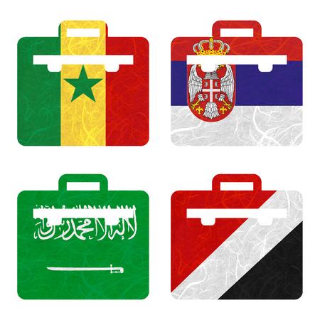 sealand: Nation Flag. Bag recycled paper on white background. ( Saudi Arabia , Sealand Principality , Senegal , Serbia ) Stock Photo