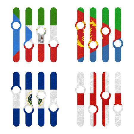 eritrea: Nation Flag. Amplifier recycled paper on white background. ( El Salvador , England , Equatorial Guinea , Eritrea ) Stock Photo