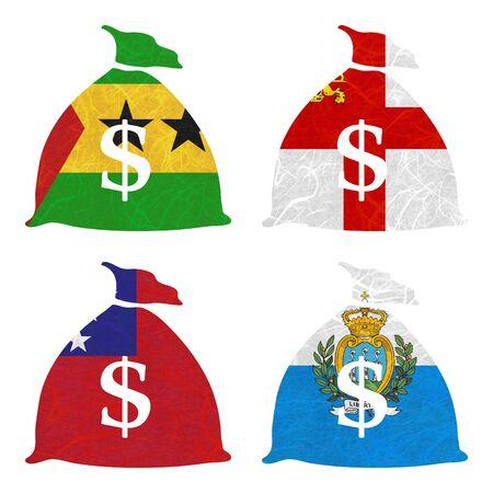 sark: Nation Flag. Bag recycled paper on white background. ( Samoa , San Marino , Sao Tome and Principe , Sark )