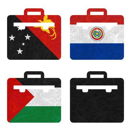 Bandera de la nación. La bolsa de papel reciclado en el fondo blanco. (Palestina, Panamá, Papua Nueva Guinea, Paraguay)