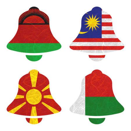 nation: Nation Flag. Bell recycled paper on white background. ( Macedonia , Madagascar , Malawi , Malaysia )