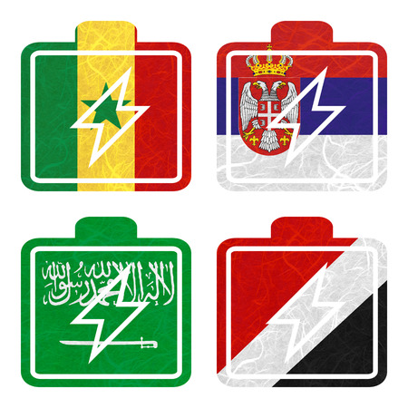 sealand: Nation Flag. Battery recycled paper on white background. ( Saudi Arabia , Sealand Principality , Senegal , Serbia ) Stock Photo