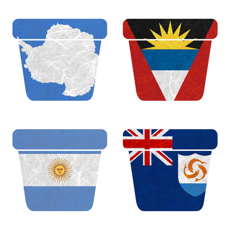 background antarctica: Nation Flag. Bin recycled paper on white background. ( Anguilla , Antarctica , Antigua and Barbuda , Argentina )
