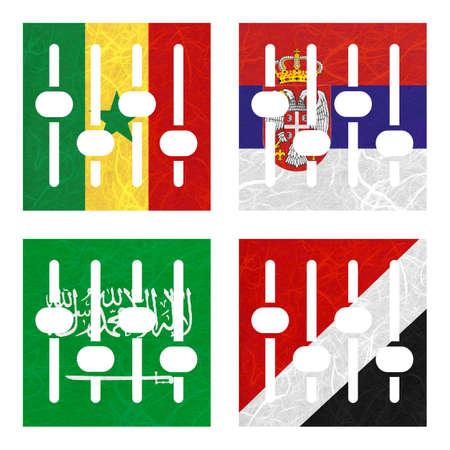 sealand: Nation Flag. Amplifier recycled paper on white background. ( Saudi Arabia , Sealand Principality , Senegal , Serbia )