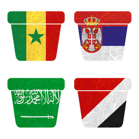 sealand: Nation Flag. Bin recycled paper on white background. ( Saudi Arabia , Sealand Principality , Senegal , Serbia )
