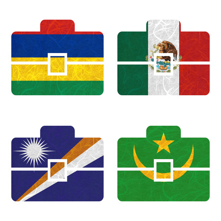 mauritania: Nation Flag. Bag recycled paper on white background. ( Marshall Islands , Mauritania , Mauritius , Mexico ) Stock Photo