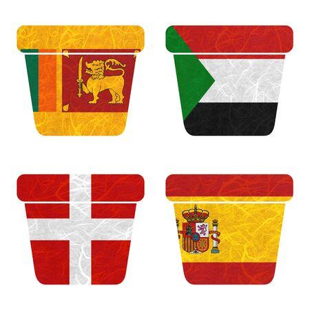 sovereign: Nation Flag. Bin recycled paper on white background. ( Sovereign Military Order of Malta , Spain , Sri Lanka , Sudan )