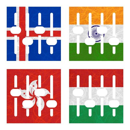 nation: Nation Flag. Amplifier recycled paper on white background. ( Hong Kong , Hungary , Iceland , India ) Stock Photo