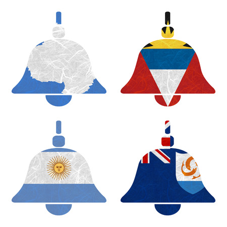 background antarctica: Nation Flag. Bell recycled paper on white background. ( Anguilla , Antarctica , Antigua and Barbuda , Argentina ) Stock Photo