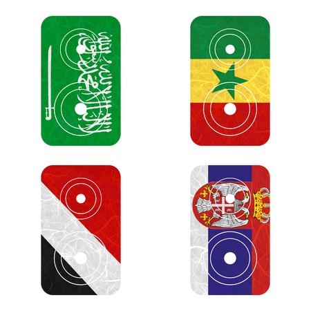 sealand: Nation Flag. Loudspeaker recycled paper on white background. ( Saudi Arabia , Sealand Principality , Senegal , Serbia ) Stock Photo