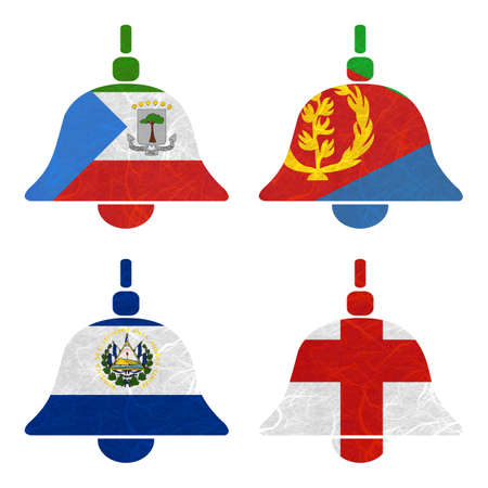 eritrea: Nation Flag. Bell recycled paper on white background. ( El Salvador , England , Equatorial Guinea , Eritrea ) Stock Photo