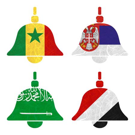 sealand: Nation Flag. Bell recycled paper on white background. ( Saudi Arabia , Sealand Principality , Senegal , Serbia )