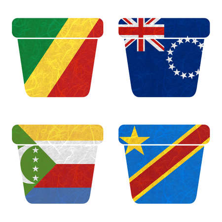 democratic republic of the congo: Nation Flag. Bin recycled paper on white background. ( Comoros , Congo Democratic Republic , Congo Republic , Cook Islands)