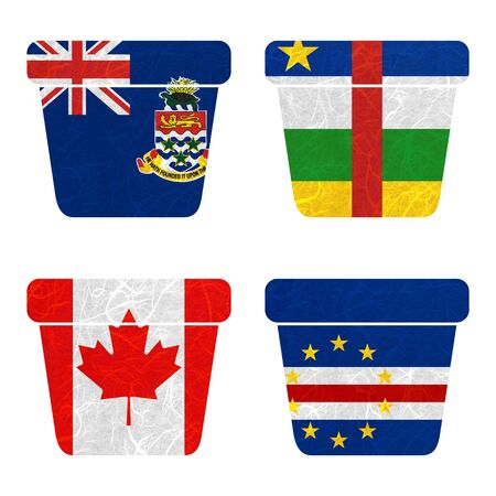 verde: Nation Flag. Bin recycled paper on white background. ( Canada , Cape Verde , Cayman Islands , Central African Republic )