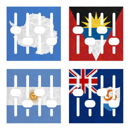 background antarctica: Nation Flag. Amplifier recycled paper on white background. ( Anguilla , Antarctica , Antigua and Barbuda , Argentina )