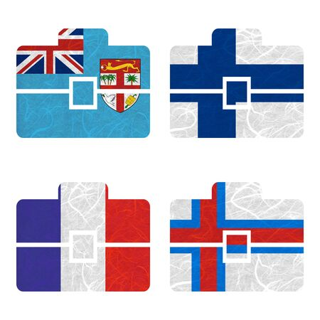 nations: Nation Flag. Bag recycled paper on white background. ( Faroe Islands , Fiji , Finland , France )
