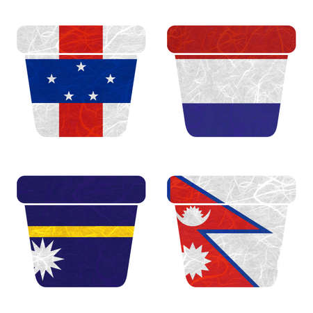 antilles: Nation Flag. Bin recycled paper on white background. ( Nauru , Nepal , Netherlands Antilles , Netherlands ) Stock Photo