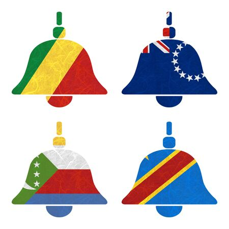 democratic republic of the congo: Nation Flag. Bell recycled paper on white background. ( Comoros , Congo Democratic Republic , Congo Republic , Cook Islands)