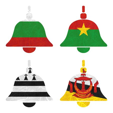 brunei darussalam: Nation Flag. Bell recycled paper on white background. ( Brittany , Brunei Darussalam , Bulgaria , Burkina Faso ) Stock Photo