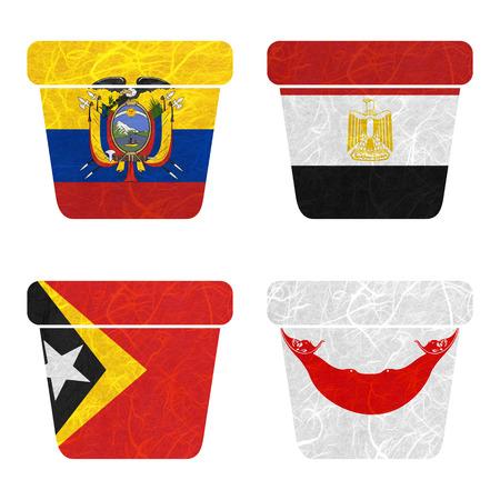 rapa nui: Bandera de la naci�n. Papelera de papel reciclado en el fondo blanco. (Timor Oriental, la isla de Pascua Rapa Nui, Ecuador, Egipto)
