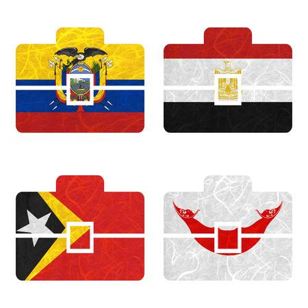 rapa nui: Bandera de la naci�n. La bolsa de papel reciclado en el fondo blanco. (Timor Oriental, la isla de Pascua Rapa Nui, Ecuador, Egipto)