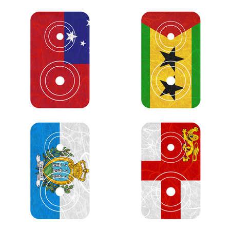 samoa: Nation Flag. Loudspeaker recycled paper on white background. ( Samoa , San Marino , Sao Tome and Principe , Sark ) Stock Photo