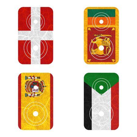 sovereign: Nation Flag. Loudspeaker recycled paper on white background. ( Sovereign Military Order of Malta , Spain , Sri Lanka , Sudan )