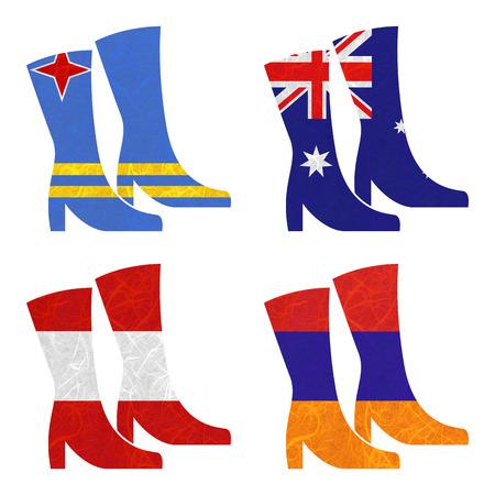 armenia: Nation Flag. Boot recycled paper on white background. ( Armenia , Aruba , Australia , Austria )