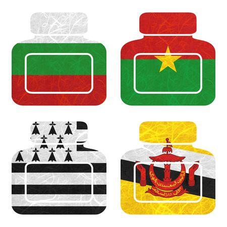 brunei darussalam: Nation Flag. Bottle recycled paper on white background. ( Brittany , Brunei Darussalam , Bulgaria , Burkina Faso )