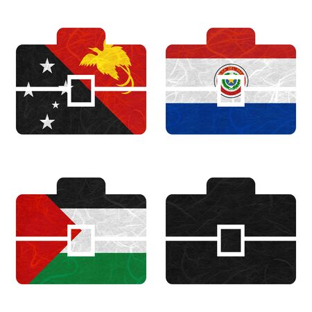 bandera panama: Nation Flag. Bag recycled paper on white background. ( Palestine , Panama , Papua New Guinea , Paraguay )
