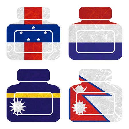antilles: Nation Flag. Bottle recycled paper on white background. ( Nauru , Nepal , Netherlands Antilles , Netherlands )