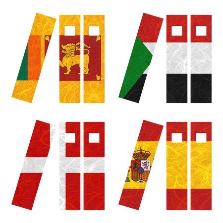 sovereign: Nation Flag. Book recycled paper on white background. ( Sovereign Military Order of Malta , Spain , Sri Lanka , Sudan )