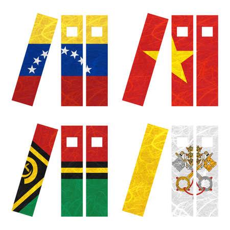vatican city: Nation Flag. Book recycled paper on white background. ( Vanuatu , Vatican City State , Venezuela , Vietnam ) Stock Photo