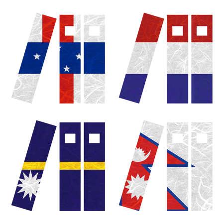 antilles: Nation Flag. Book recycled paper on white background. ( Nauru , Nepal , Netherlands Antilles , Netherlands )