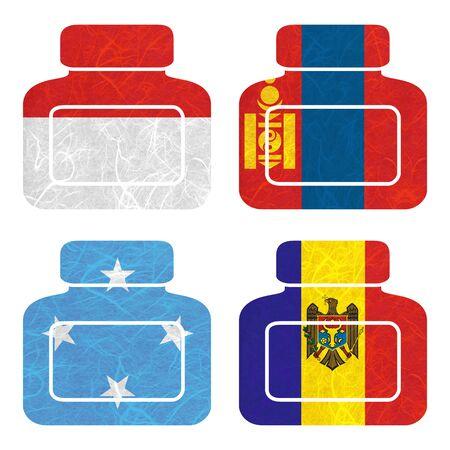 federated: Nation Flag. Bottle recycled paper on white background. ( Micronesia Federated States , Moldova , Monaco , Mongolia )