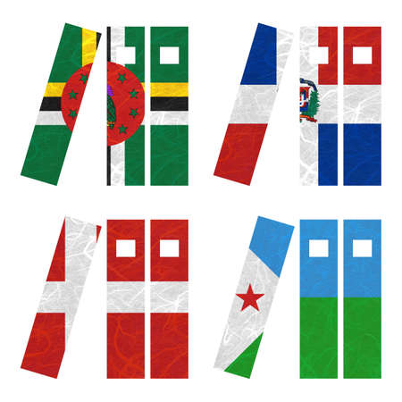 nation: Nation Flag. Book recycled paper on white background. ( Denmark , Djibouti , Dominica , Dominican Republic )