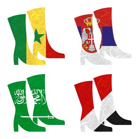 sealand: Nation Flag. Boot recycled paper on white background. ( Saudi Arabia , Sealand Principality , Senegal , Serbia )