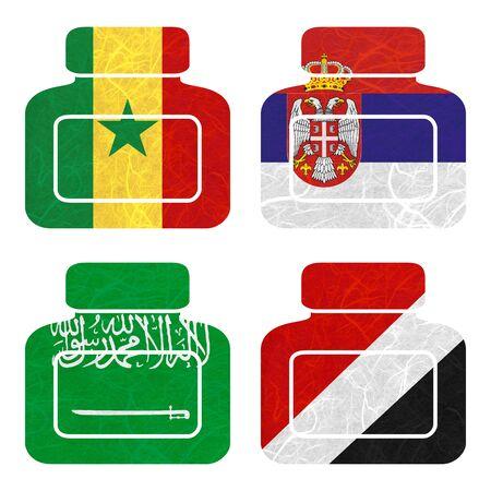 sealand: Nation Flag. Bottle recycled paper on white background. ( Saudi Arabia , Sealand Principality , Senegal , Serbia ) Stock Photo