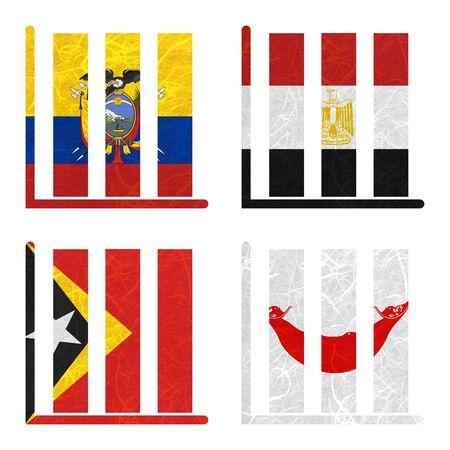 rapa nui: Bandera de la naci�n. Libro-estante de papel reciclado en el fondo blanco. (Timor Oriental, la isla de Pascua Rapa Nui, Ecuador, Egipto)