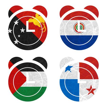 bandera panama: Bandera de la naci�n. Reloj de papel reciclado en el fondo blanco. (Palestina, Panam�, Papua Nueva Guinea, Paraguay)
