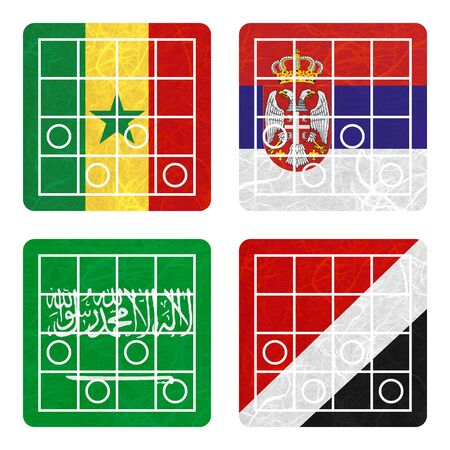 nation: Nation Flag. Chess recycled paper on white background. ( Saudi Arabia , Sealand Principality , Senegal , Serbia ) Stock Photo