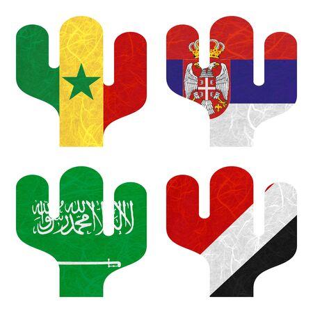 sealand: Nation Flag. Film strip recycled paper on white background. ( Saudi Arabia , Sealand Principality , Senegal , Serbia )