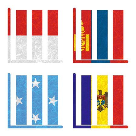 federated: Nation Flag. Book-shelf recycled paper on white background. ( Micronesia Federated States , Moldova , Monaco , Mongolia )