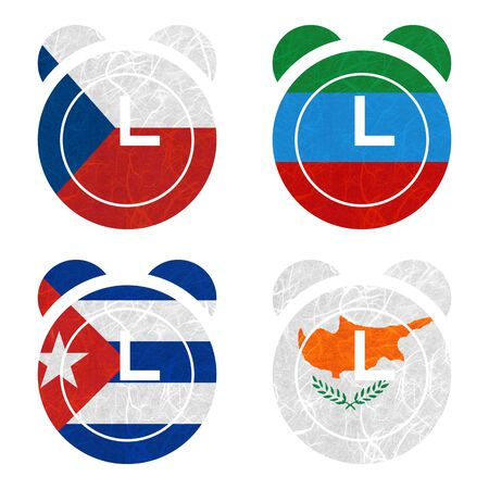 dagestan: Nation Flag. Clock recycled paper on white background. ( Cuba , Cyprus , Czech Republic , Dagestan )